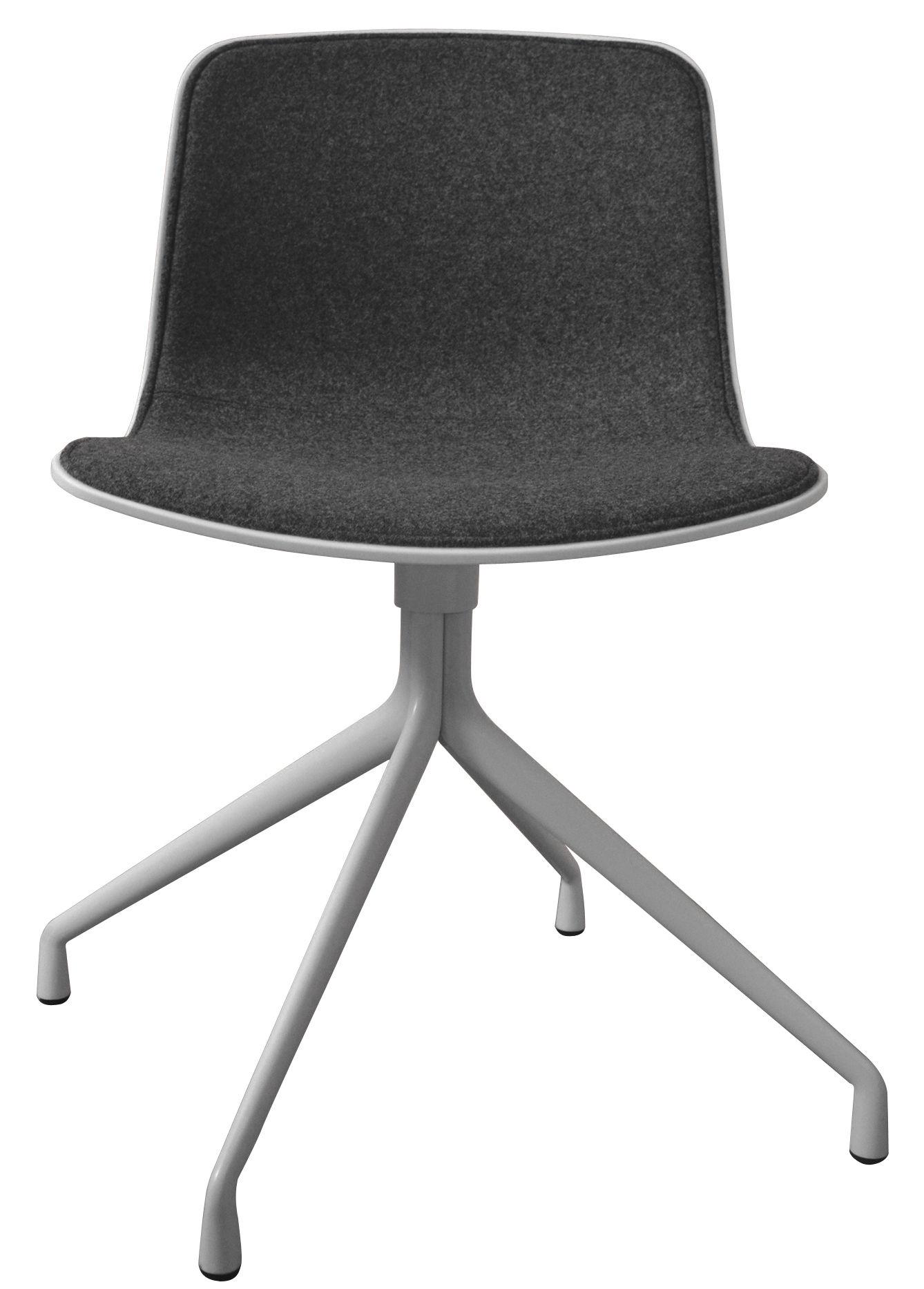Möbel - Stühle  - About a chair Drehstuhl mit Stoffbezug / 4 Stuhlbeine - Drehstuhl - Hay - Weiß / Bezug grau - Kvadrat-Gewebe, lackiertes Gussaluminium, Polypropylen, Schaumstoff