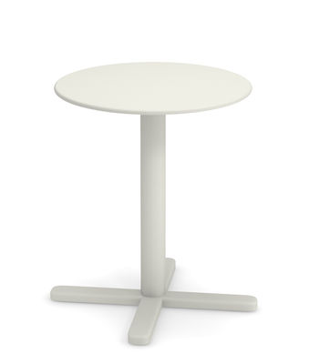 Outdoor - Garden Tables - Darwin Foldable table - / Ø 60 cm by Emu - White - Varnished steel