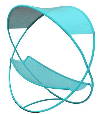 Jardin - Bains de soleil, chaises longues et hamacs - Hamac Osmose / Lit suspendu avec toile d'ombrage - Fermob - Turquoise - Acier peint, Toile