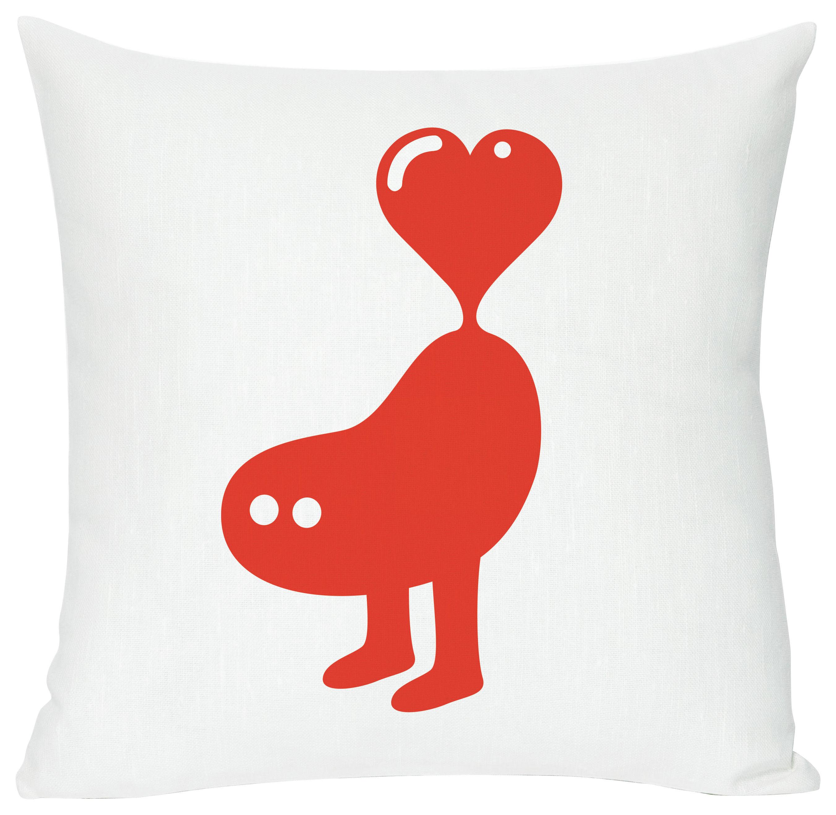Dekoration - Für Kinder - Red heart Kissen - Domestic - Red heart - weiß und rot - Baumwolle, Leinen