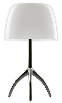Illuminazione - Lampade da tavolo - Lampada da tavolo Lumière Grande / Variatore - H 45 cm - Foscarini - Bianco caldo / Base nero cromato - alluminio verniciato, vetro soffiato