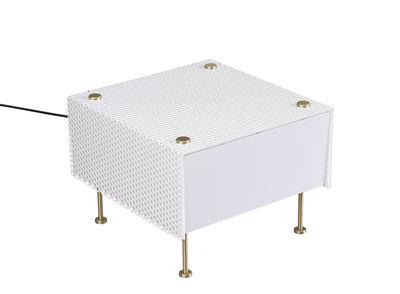 Luminaire - Lampes de table - Lampe de table G61 Small / Réédition 1959, Pierre Guariche - SAMMODE STUDIO - Blanc & laiton - PMMA, Tôle d'acier perforée - Laiton brossé