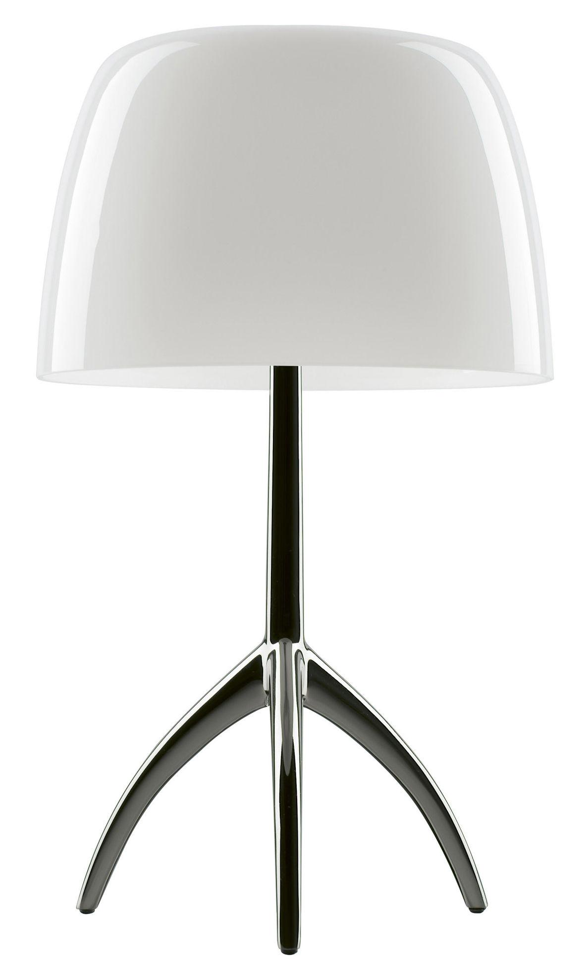 Luminaire - Lampes de table - Lampe de table Lumière Grande / Variateur - H 45 cm - Foscarini - Blanc chaud / Pied noir chromé - Aluminium verni, Verre soufflé
