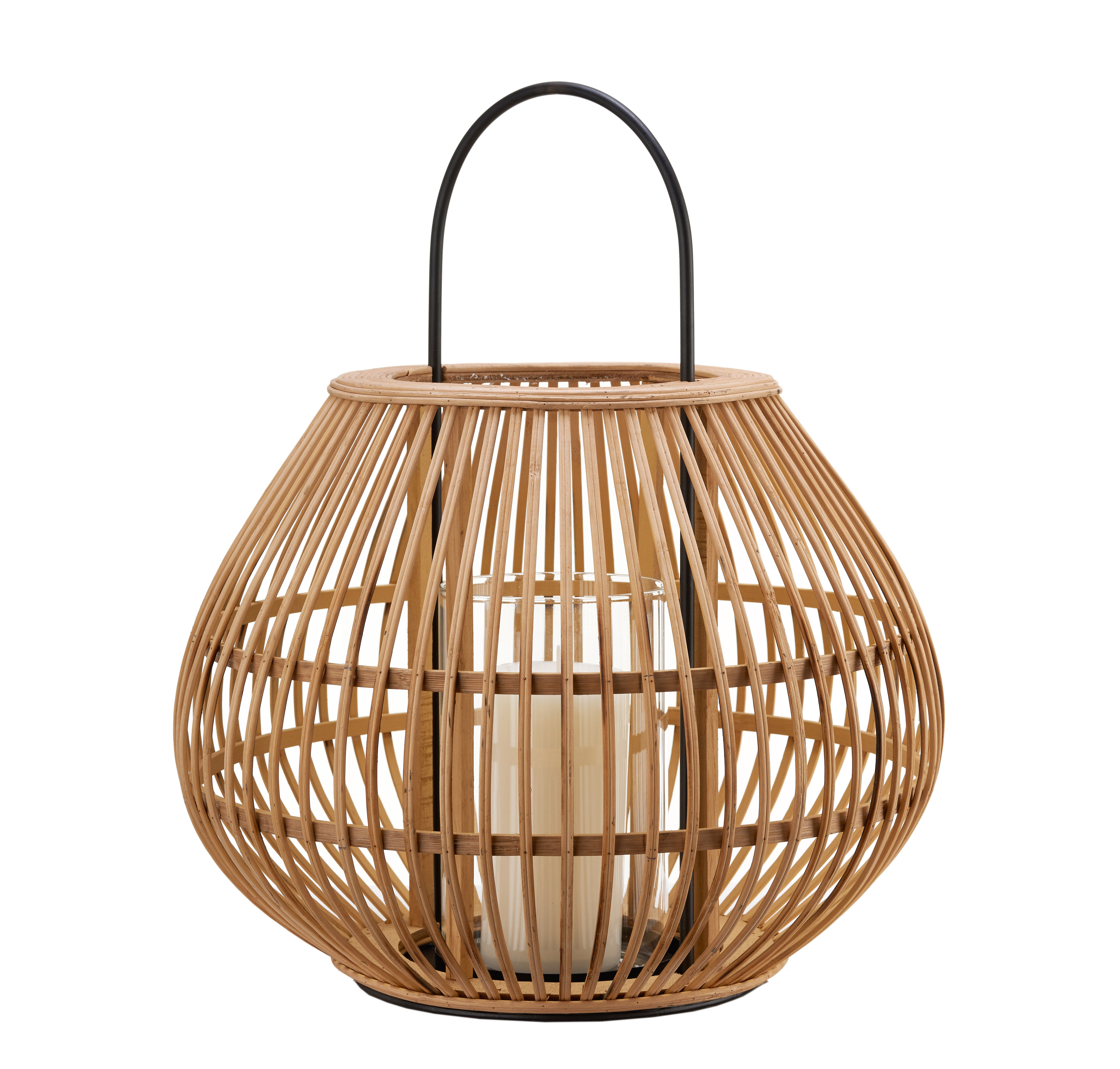 Outdoor - Ornaments & Accessories - Striped Apple Lantern - / Bamboo - H 46 cm by Pols Potten - Natural - Bamboo, Glass, Iron