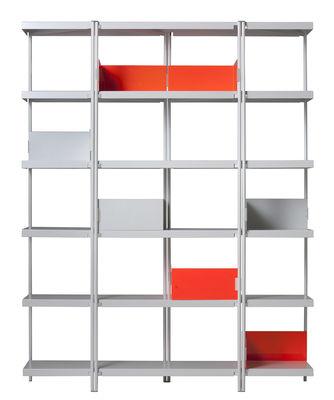 Arredamento - Scaffali e librerie - Libreria ZigZag / Riedizione 1996 - H 201 cm - Driade - Bianco - Acciaio inossidabile lucido