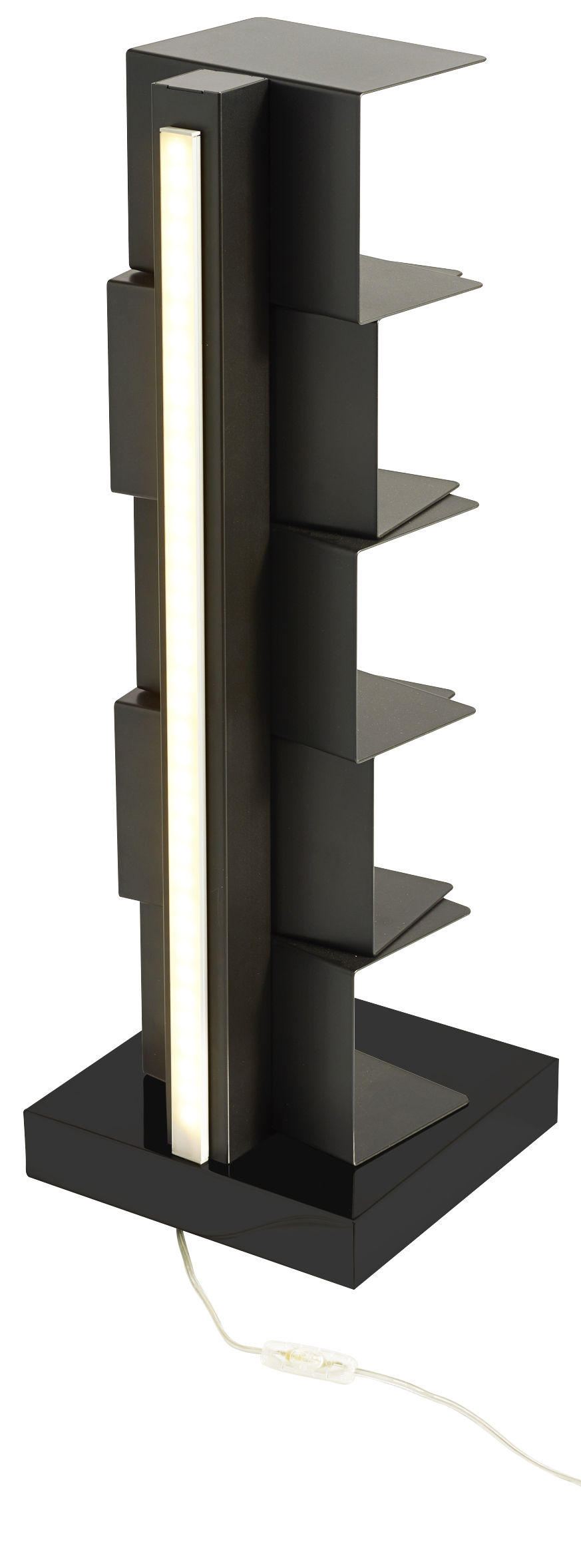Furniture - Bookcases & Bookshelves - Ptolomeo Luce Luminous bookcase by Opinion Ciatti - Black - Lacquered steel