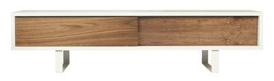 Meuble TV Bridge / L 198 cm - POP UP HOME blanc,noyer en bois