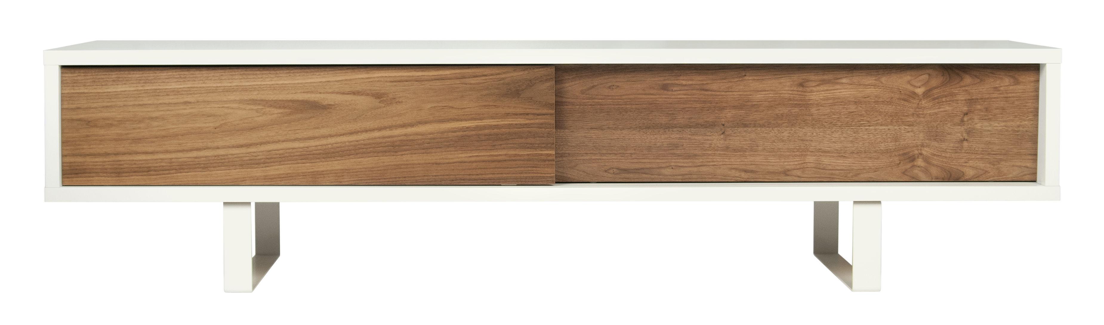 Arredamento - Mobili TV - Mobile TV Slide / L 198 cm - POP UP HOME - Bianco / Noce - Acciaio laccato, Impiallacciatura noce, Pannelli in agglomerato dipinti