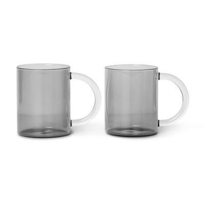 Mug Still / Set de 2 - Verre soufflé bouche - Ferm Living gris fumé en verre