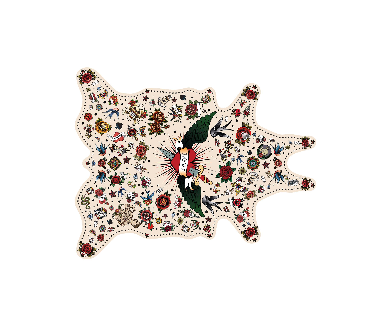 Tableware - Napkins & Tablecloths - Tatoo Love Placemat - / 38 x 48 cm - Vinyl by PÔDEVACHE - Love / Multicoloured - Vinal