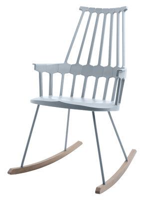 Arredamento - Poltrone design  - Rocking chair Comback - sedia a dondolo di Kartell - Grigio blu / legno - Frassino tinto, Tecnopolimero termoplastico