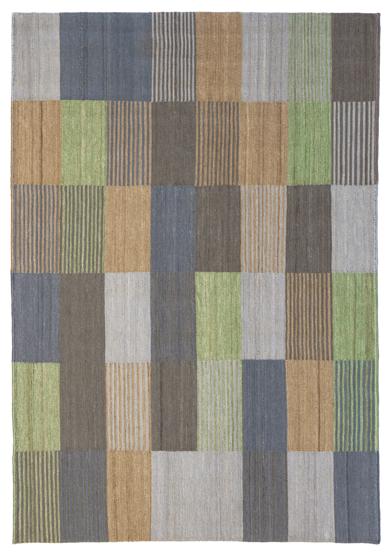 Decoration - Rugs - Blend 3 Rug - 200 x 300 cm by Nanimarquina - Green & blue - Afghan wool