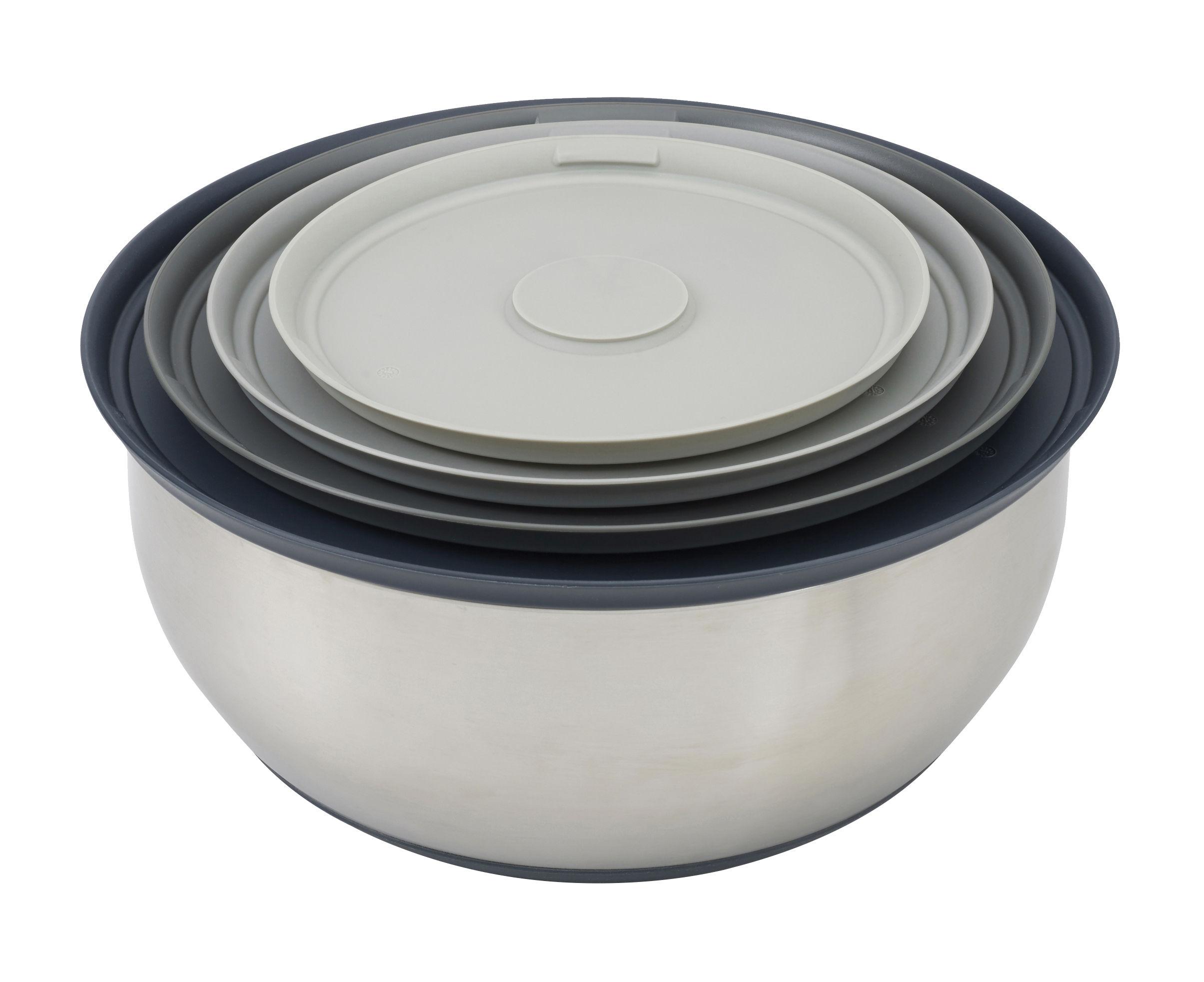 Tischkultur - Salatschüsseln und Schalen - Nest Prep & Store Schale / 4-teilig, stapelbar - Joseph Joseph - Stahl & grau - Kunststoff ohne BPA, rostfreier Stahl