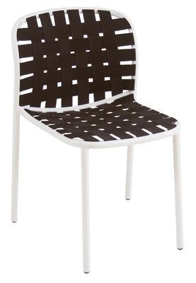 Arredamento - Sedie  - Sedia impilabile Yard / Cinghie elastiche - Emu - Struttura bianca / Seduta nera - alluminio verniciato, Cinghie elastiche