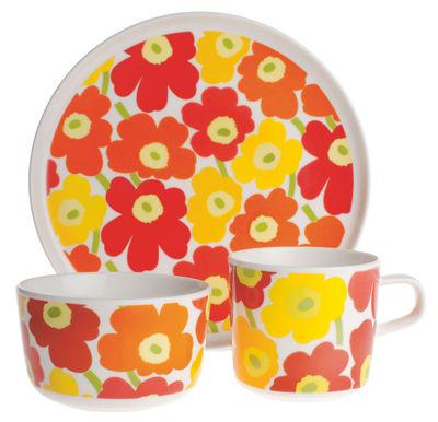 Déco - Pour les enfants - Set vaisselle Mini-Unikko /Pour enfant - Marimekko - Mini Unikko / Multicolore - Porcelaine émaillée
