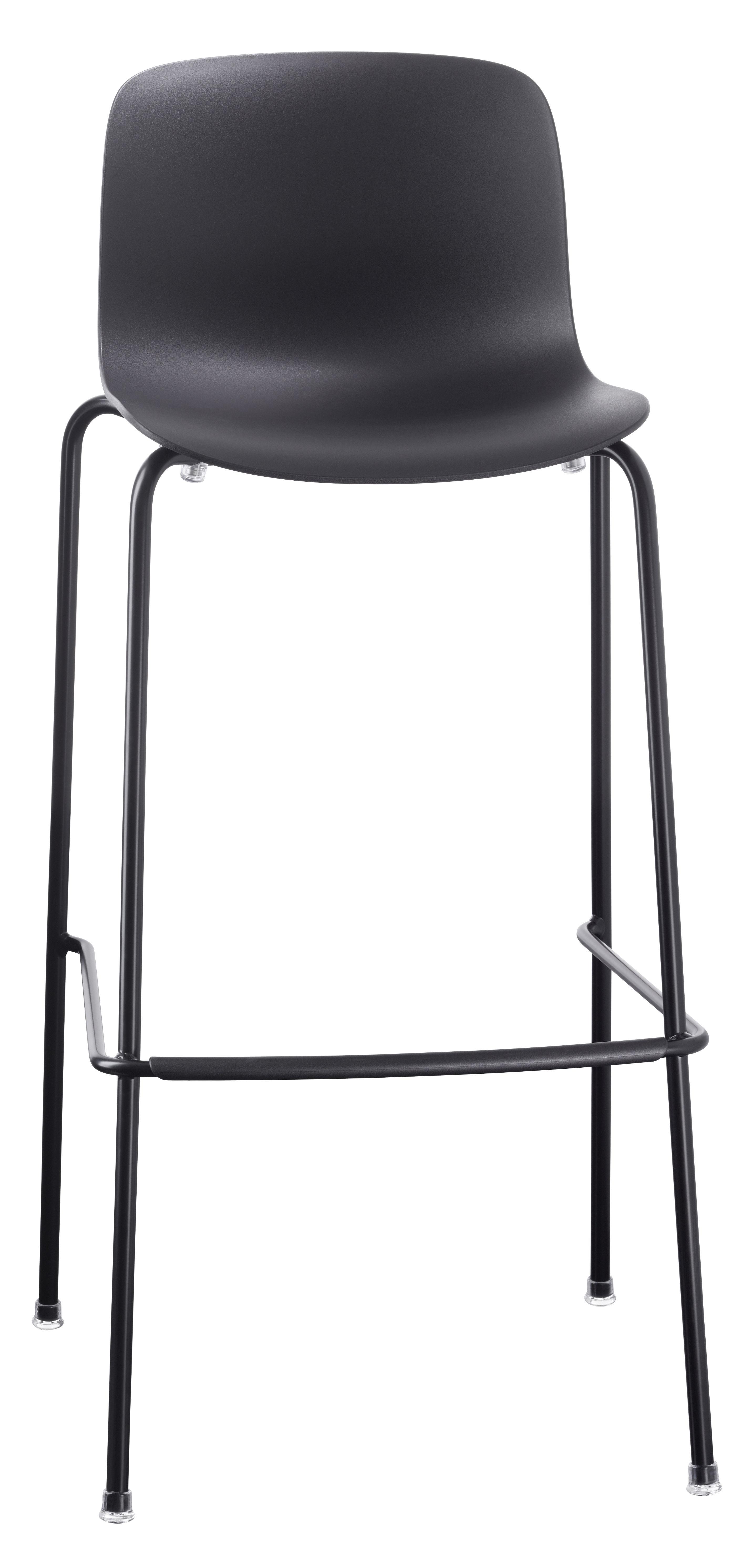 Arredamento - Sgabelli da bar  - Sgabello da bar Troy Outdoor / Plastica & 4 gambe metallo - H 75 cm - Magis - Nero - Acciaio, Polipropilene