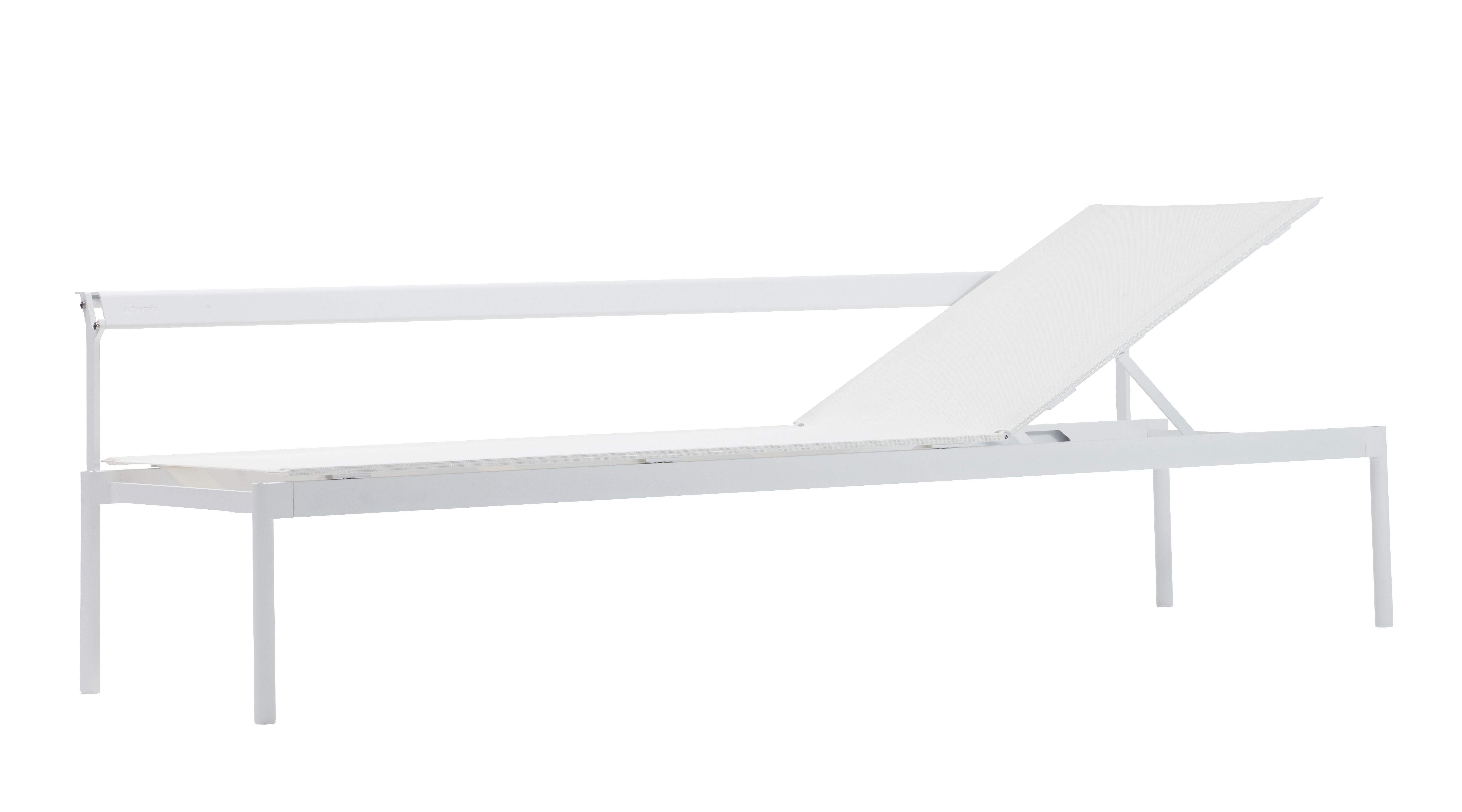 Outdoor - Liegen und Hängematten - Australis Sonnenliege verstellbar / 2-in-1-Sitzbank - Extremis - Weiß - Aluminium, Batyline® Bespannung, Stahl