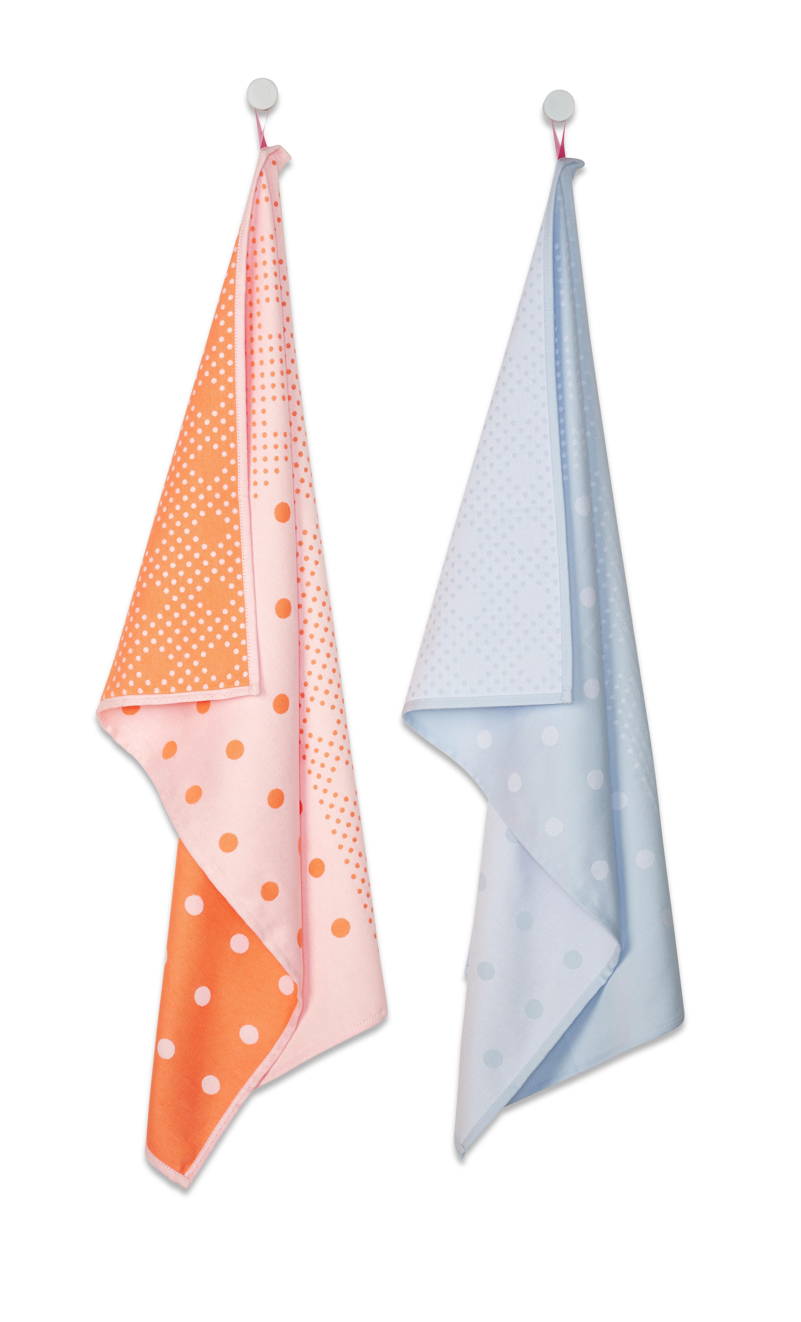Cucina - Grembiuli e Strofinacci - Strofinaccio Big Dots - / Set da 2 di Hay - Arancione & rosa / blu - Cotone, Poliestere