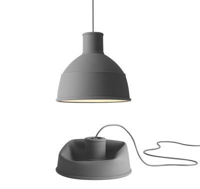 Luminaire - Suspensions - Suspension Unfold / en silicone - Muuto - Gris - Silicone
