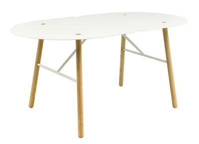 Table Amaryllis / 160 x 90 cm - Bibelo blanc,frêne naturel en métal