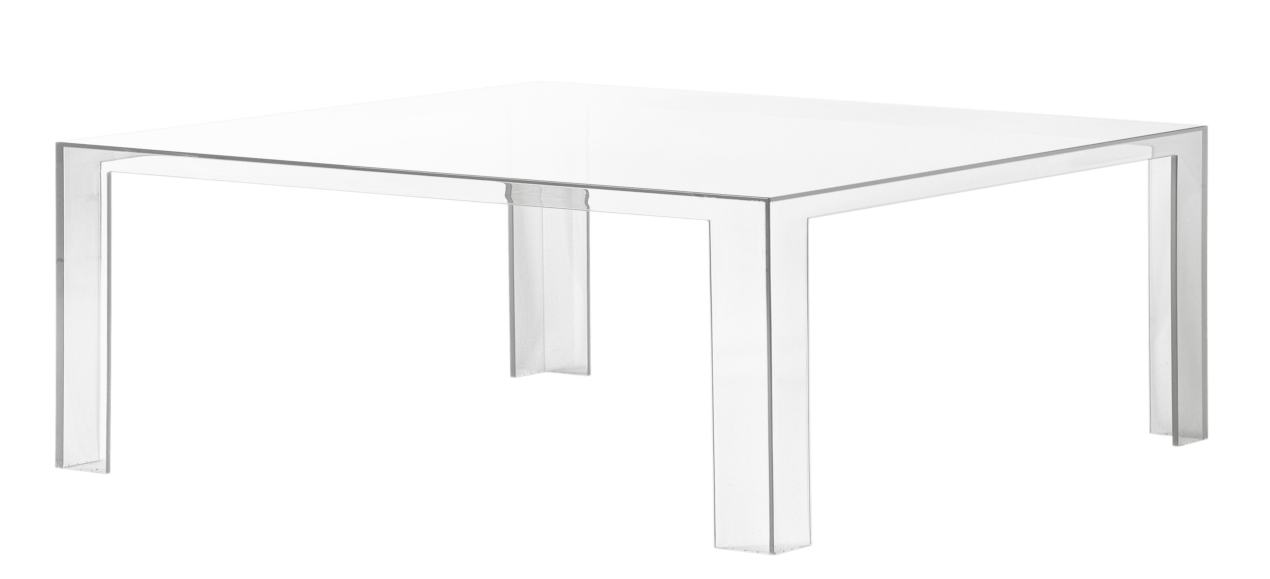 Mobilier - Table basse Invisible Low / 100 x 100 x H 31 cm - Kartell - Cristal - PMMA