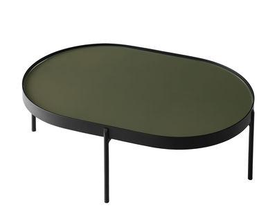 Table basse No-No Large / 96 x 59 x H 35 cm - Menu vert/noir en métal/verre