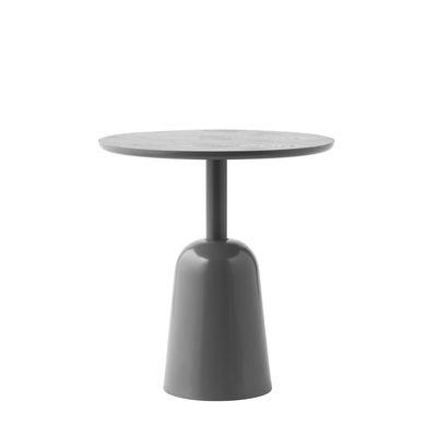 Mobilier - Tables basses - Table basse Turn / Hauteur réglable de 41 à 64 cm / Ø 55 cm - Normann Copenhagen - Gris - Acier verni, Contreplaqué de frêne peint