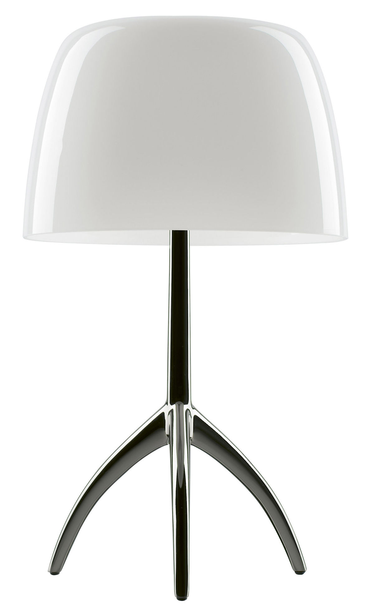 Lighting - Table Lamps - Lumière Grande Table lamp - With dimmer - H 45 cm by Foscarini - Warm white / Black chrome leg - Blown glass, Varnished aluminium