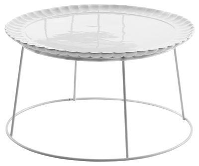 Arredamento - Tavolini  - Tavolino Il piato e' servito - / Ø 60 cm - Piatto in ceramica rimovibile di Mogg - Bianco - Ceramica, metallo laccato