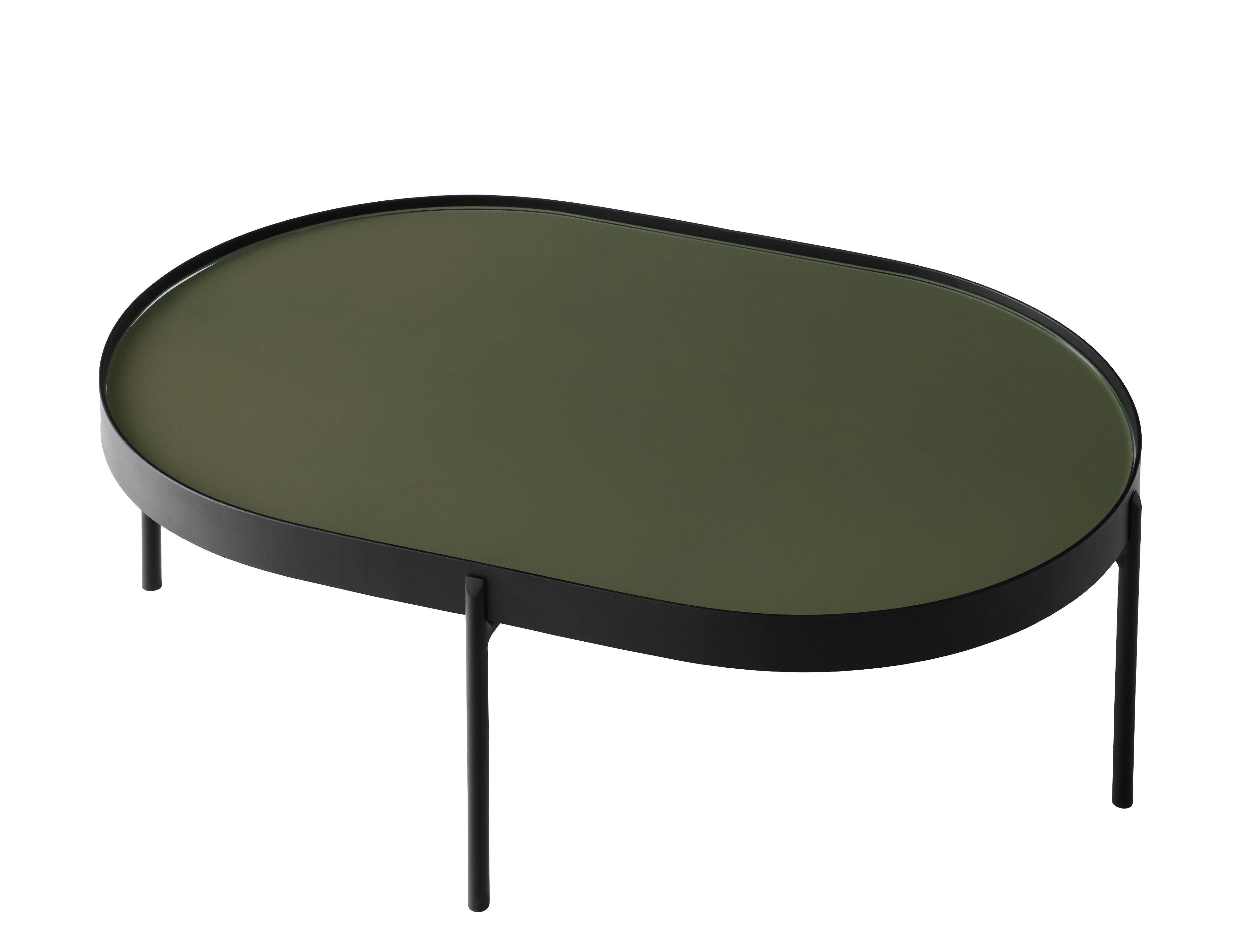 Arredamento - Tavolini  - Tavolino No-No Large - / 96 x 59 x H 35 cm di Menu - Verde scuro / struttura nera - Acier poudré, Verre poli