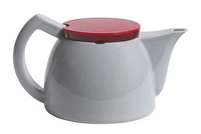 Küche - Teekannen und Wasserkessel - Teekanne / 1 l - Teefilter aus Stahl - Hay - Grau & rot - Plastik, Porzellan, rostfreier Stahl