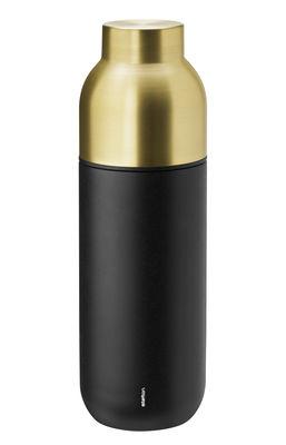 Tischkultur - Karaffen - Collar Thermosflasche / 0,75 l - Stelton - Schwarzmatt & messingfarben - Messingbeschichteter Edelstahl, Plastik, Silikon, Teflonbeschichteter Edelstahl