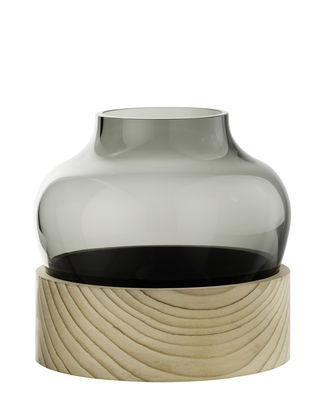 Dekoration - Vasen - Small Vase / mundgeblasenes Glas & Zedernholz - H 18,5 cm - Fritz Hansen - Klein / Rauchglas & Holz - Cèdre, mundgeblasenes Glas