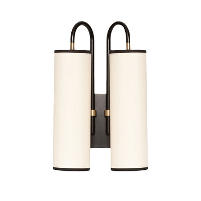 Lighting - Wall Lights - Tokyo Double Wall light - / Cotton - H 42 cm by Maison Sarah Lavoine - White cotton / Black - Cotton, Powder coated steel