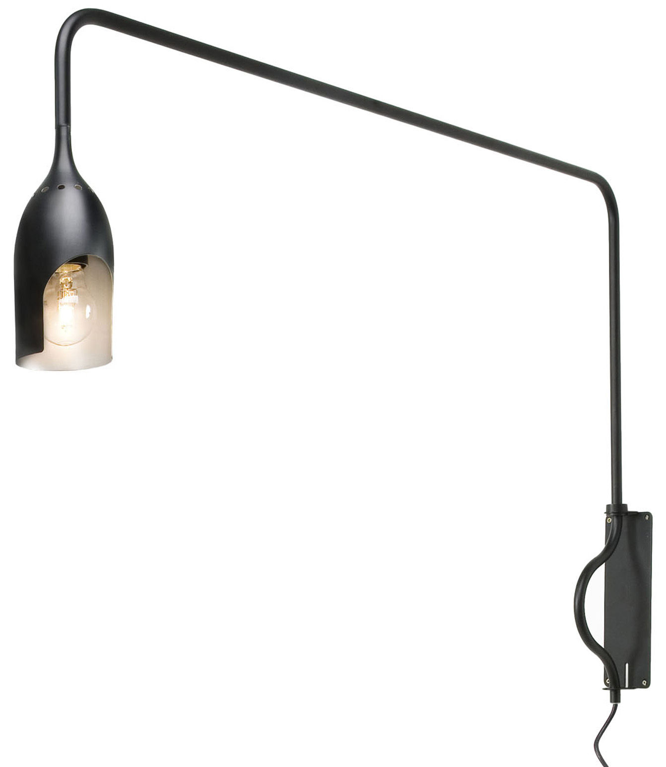 Lighting - Wall Lights - Tournebrille Wall light with plug by Tsé-Tsé - Outside : Black mat / Inside : gold - Aluminium