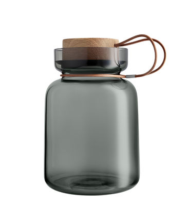Kitchenware - Kitchen Storage Jars - Silhouette Airtight jar - / 1.5L - Leather, wood & glass by Eva Solo - 1.5 L / Grey - Leather, Mouth blown glass, Oak, Silicone