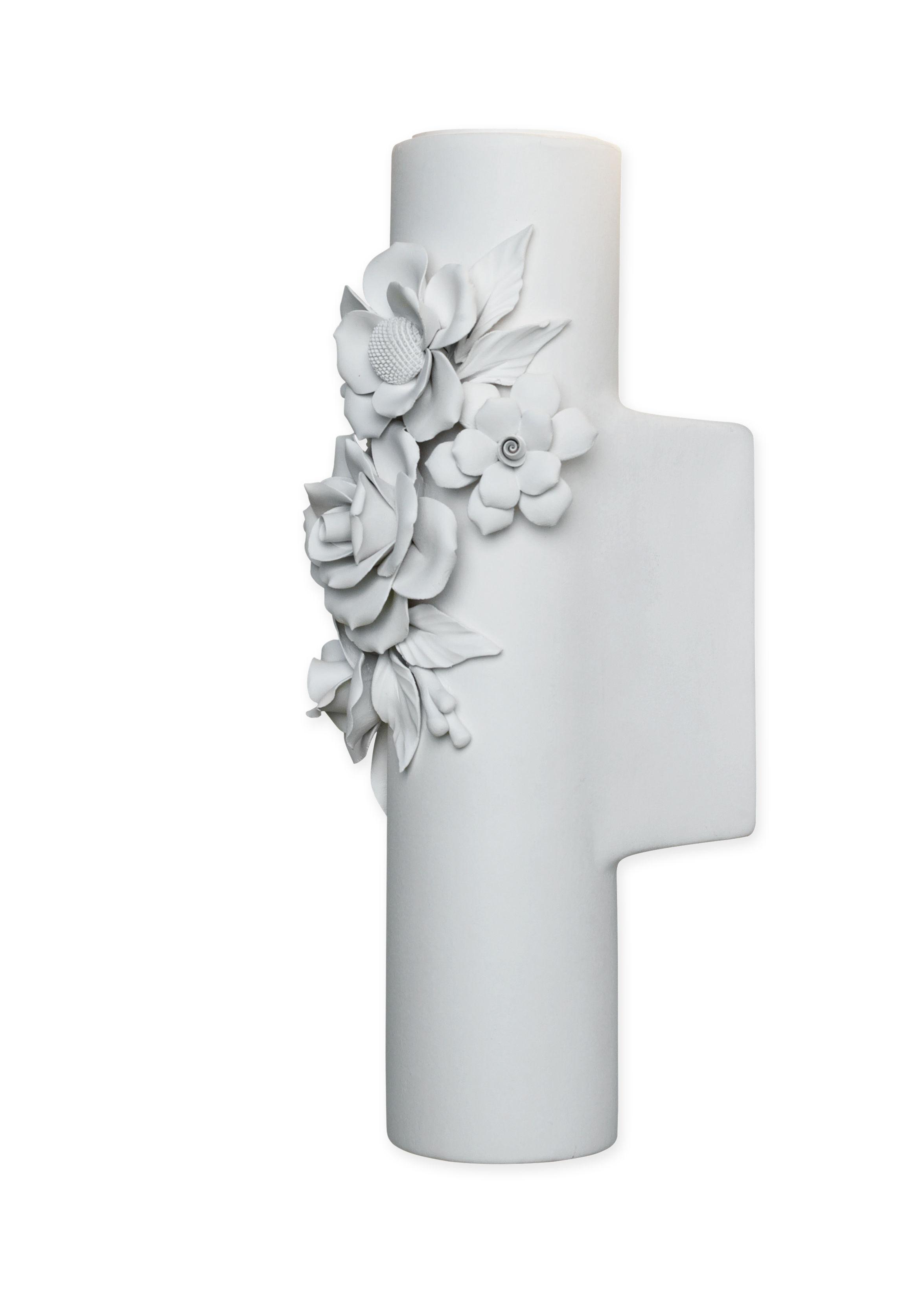 Luminaire - Appliques - Applique Capodimonte / Céramique - Ø 6 x H 26 cm - Karman - Blanc mat - Céramique brute