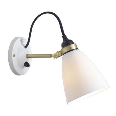 Luminaire - Appliques - Applique Hector 30 / Porcelaine lisse - Branchement mur - Original BTC - Blanc lisse / Laiton & câble noir - Laiton, Porcelaine