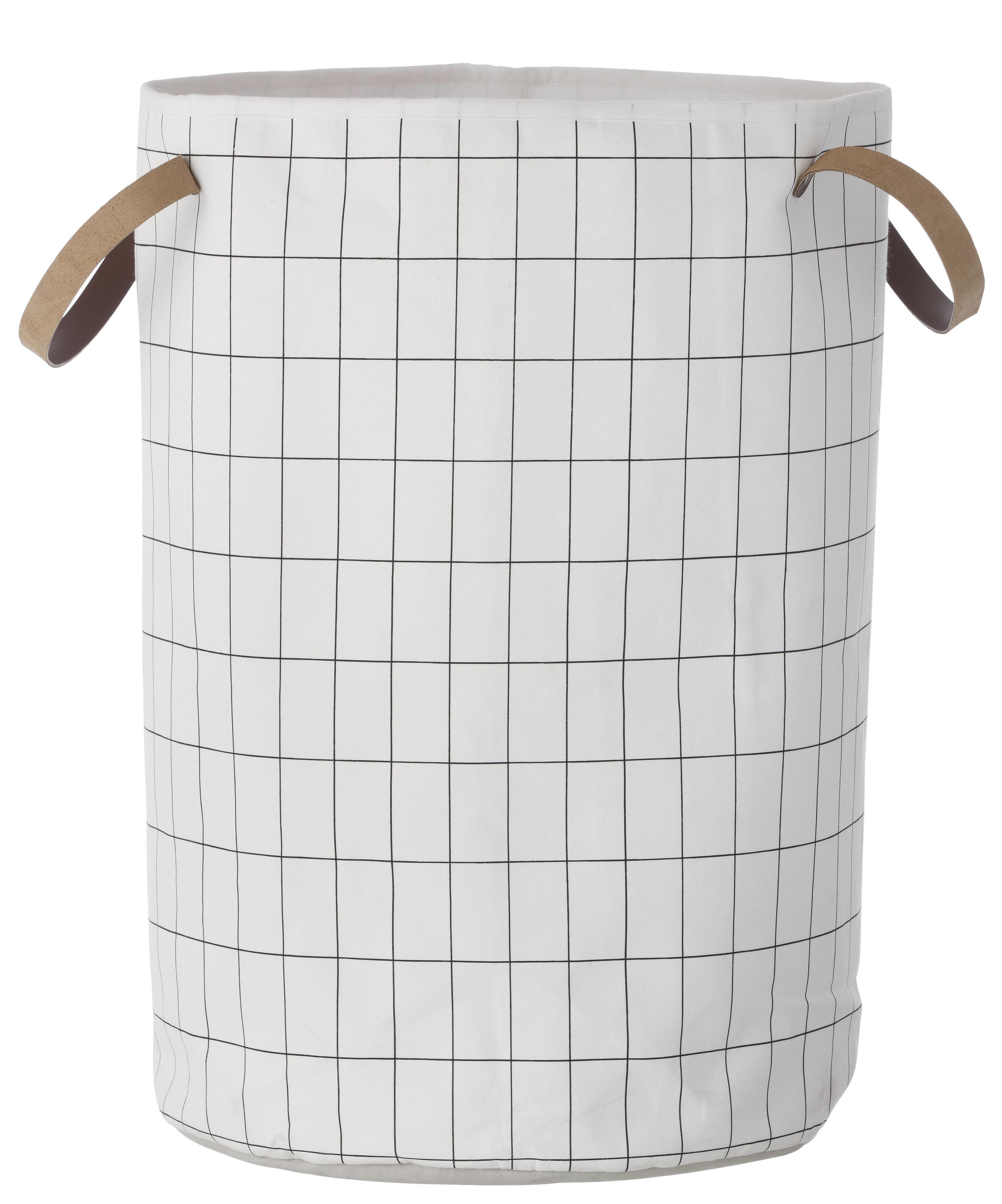 Decoration - Boxes & Baskets - Grid Basket - Large / Ø 40 x H 60 cm by Ferm Living - Grid / Black & white - Cotton