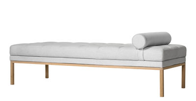 Furniture - Sofas - Square Bench - / 187 x 72 cm - Fabric by Bloomingville - Pale Grey / Oak - Coton recyclé, Foam, Oiled solid oak