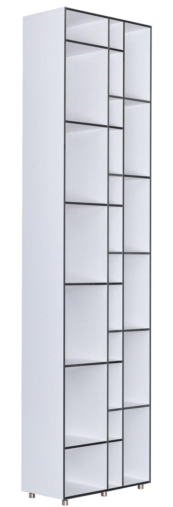 Mobilier - Etagères & bibliothèques - Bibliothèque Code 1 / L 60 x H 232 cm - Zeitraum - Etagères blanc / Arêtes anthracite - Aluminium, Laminé, MDF