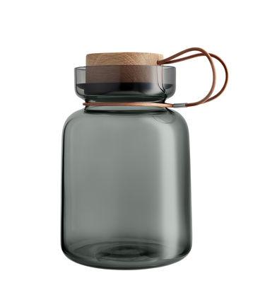 Cuisine - Boîtes, pots et bocaux - Bocal hermétique Silhouette / 1,5L - Cuir, bois & verre - Eva Solo - 1,5L / Gris - Chêne, Cuir, Silicone, Verre soufflé bouche