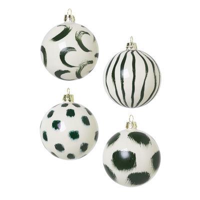Boule de Noël / Set de 4 - Verre peint à la main - Ferm Living vert en verre
