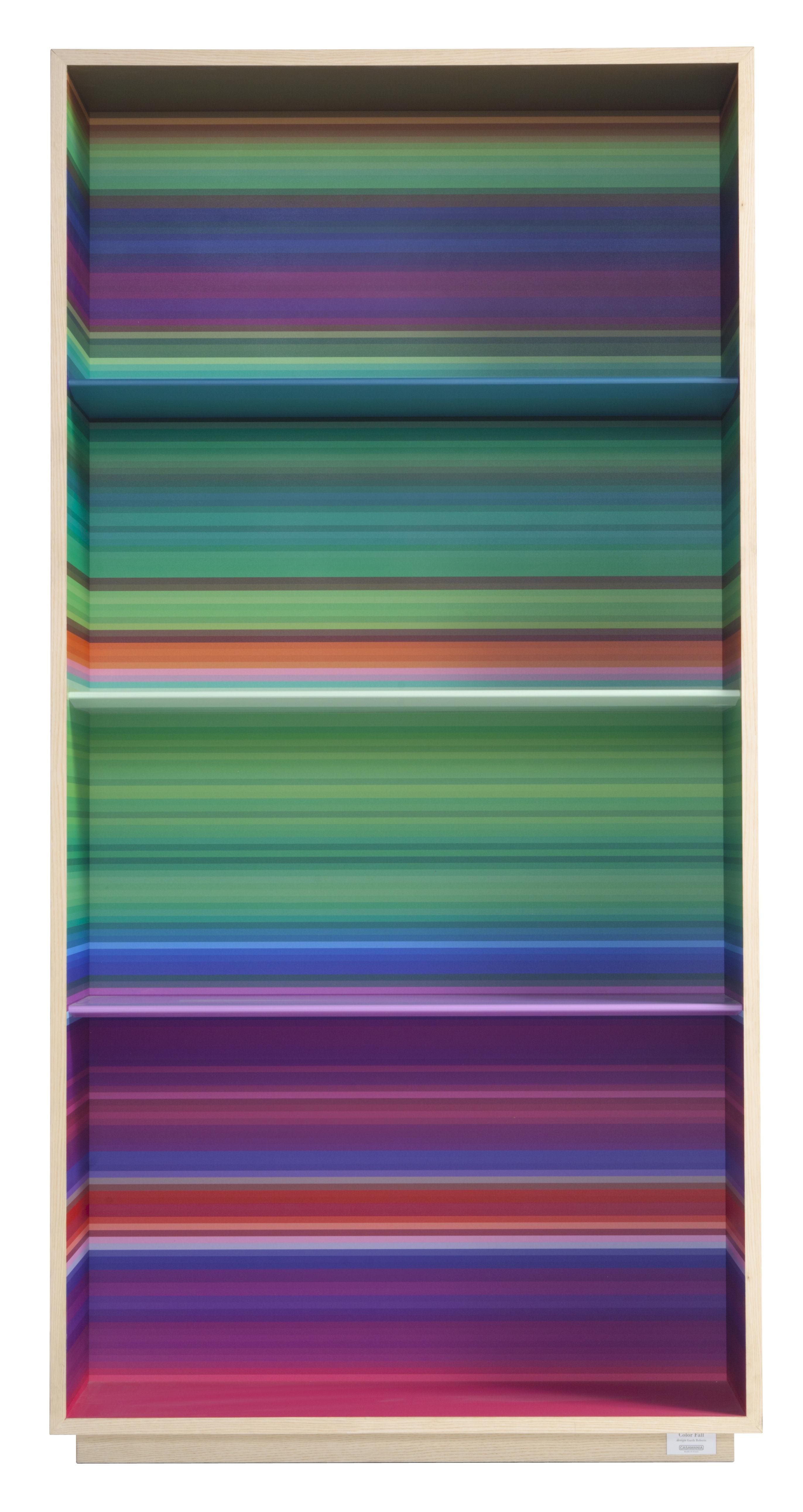 Möbel - Regale und Bücherregale - Color Fall Bücherregal / L 90 x H 160 cm - Casamania - Helles Holz / Innenseite mehrfarbig - Melamin