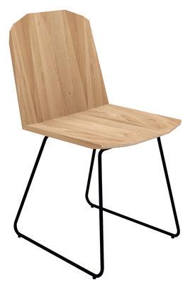 Mobilier - Chaises, fauteuils de salle à manger - Chaise Facette - Universo Positivo - Bois naturel / Piètement noir - Chêne, Métal