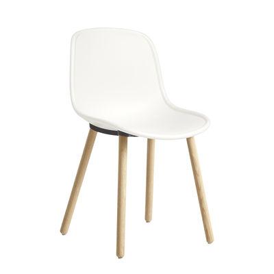 Mobilier - Chaises, fauteuils de salle à manger - Chaise Neu 12 / Plastique & bois avec jonction alu - Hay - Crème / Pieds bois - Aluminium, Chêne massif, Polypropylène