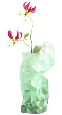 Interni - Vasi - Copri vaso Paper - / Ø 18  x H 42 cm di Pop Corn - Verde mosaico - Carta plastificata