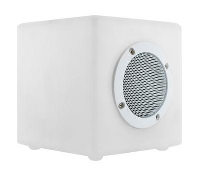 Enceinte lumineuse Bluetooth Cube Small OUTDOOR / 15 cm - LED RGB - Light & Sounds blanc en matière plastique