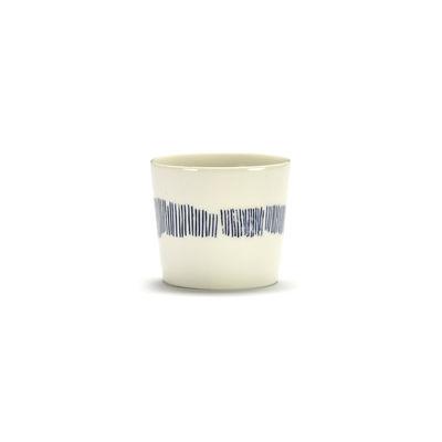 Tableware - Coffee Mugs & Tea Cups - Feast Espresso cup - / 15 cl by Serax - Streaks / White & blue - Enamelled sandstone