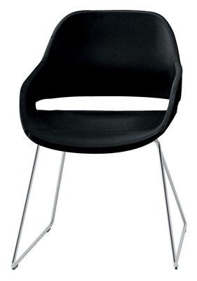 Mobilier - Chaises, fauteuils de salle à manger - Fauteuil Eva /Polyuréthane & pied traîneau métal - Zanotta - Pied chromé / Coque noire - Acier chromé, Polyuréthane